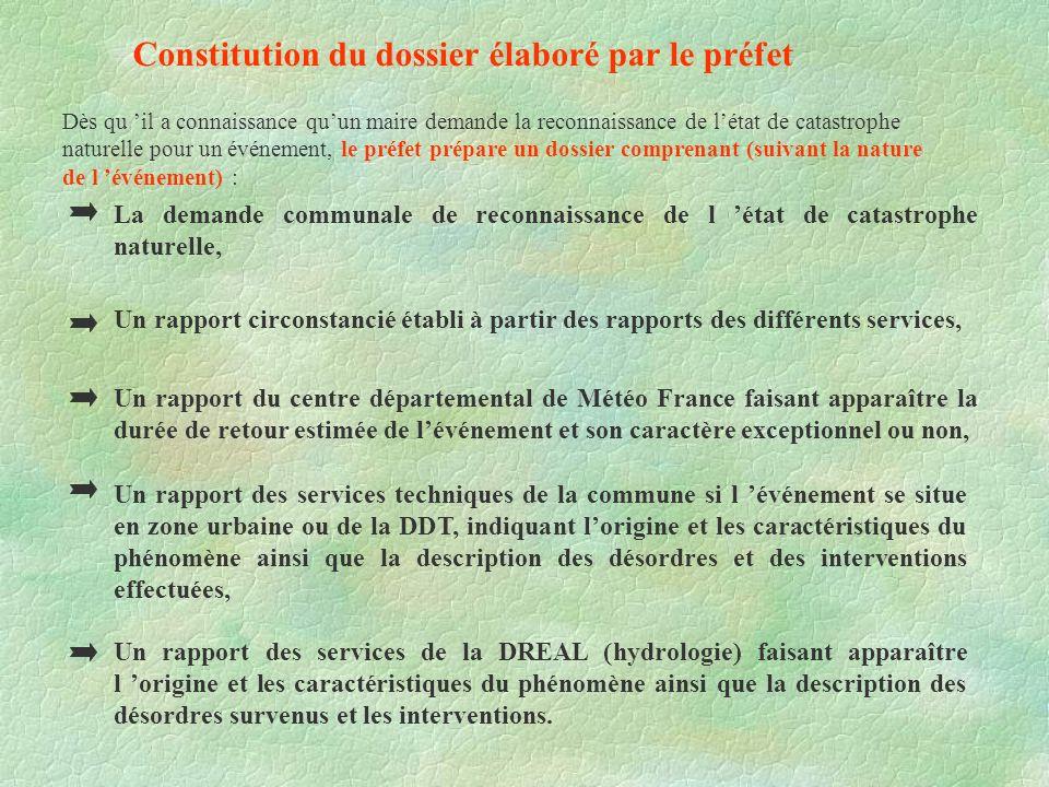 Constitution du dossier élaboré par le préfet