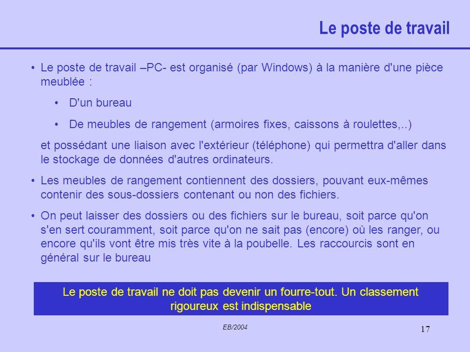 Le poste de travail Le poste de travail –PC- est organisé (par Windows) à la manière d une pièce meublée :