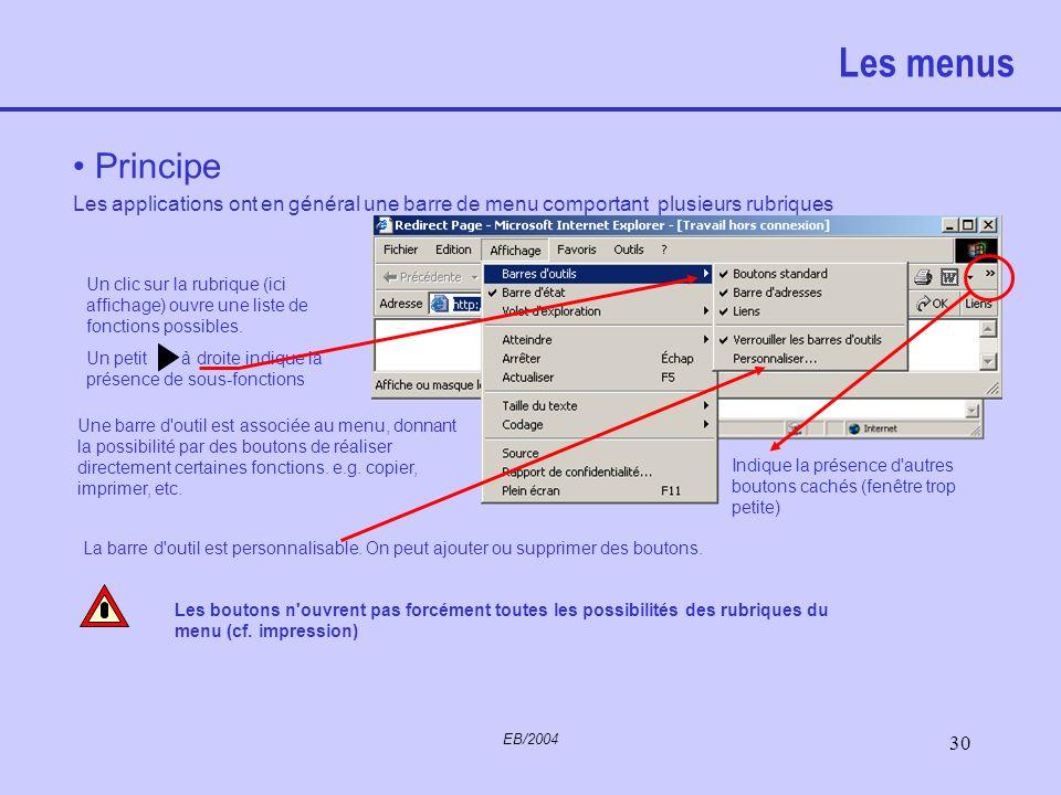 Les menus Principe. Les applications ont en général une barre de menu comportant plusieurs rubriques.