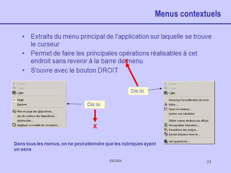 Menus contextuels Extraits du menu principal de l application sur laquelle se trouve le curseur.