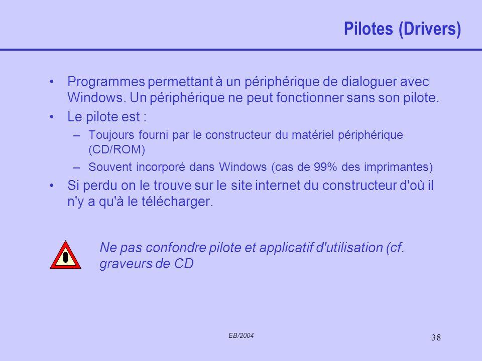 Pilotes (Drivers) Programmes permettant à un périphérique de dialoguer avec Windows. Un périphérique ne peut fonctionner sans son pilote.