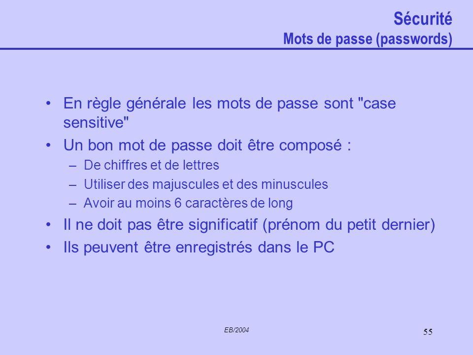 Sécurité Mots de passe (passwords)