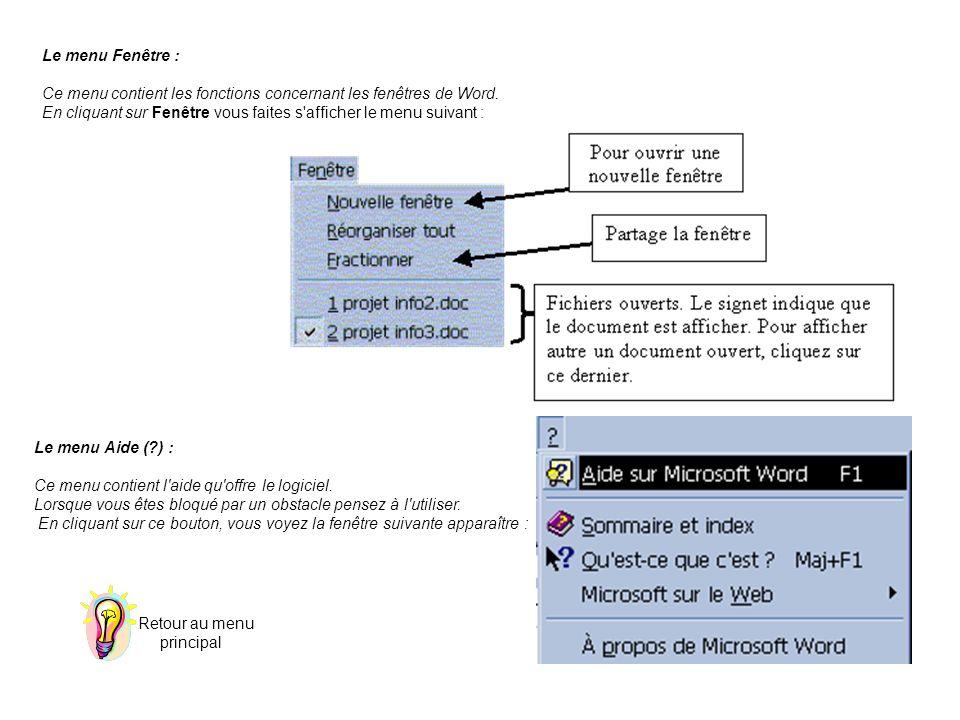 Le menu Fenêtre : Ce menu contient les fonctions concernant les fenêtres de Word. En cliquant sur Fenêtre vous faites s afficher le menu suivant :