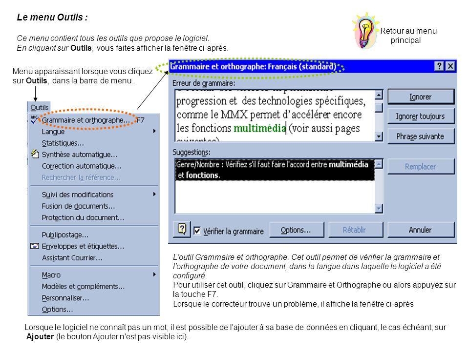 Le menu Outils : Ce menu contient tous les outils que propose le logiciel. En cliquant sur Outils, vous faites afficher la fenêtre ci-après.