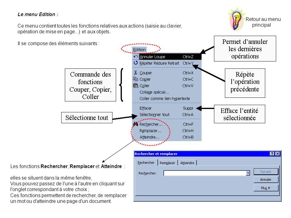 Retour au menu principal. Le menu Edition : Ce menu contient toutes les fonctions relatives aux actions (saisie au clavier,