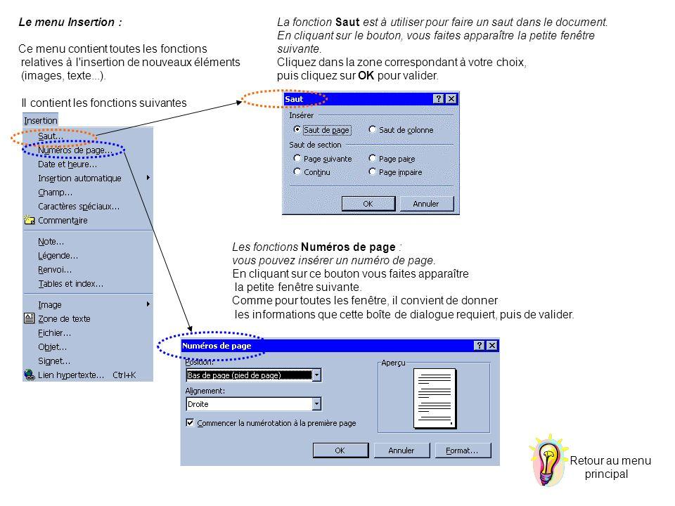 Le menu Insertion : Ce menu contient toutes les fonctions. relatives à l insertion de nouveaux éléments.