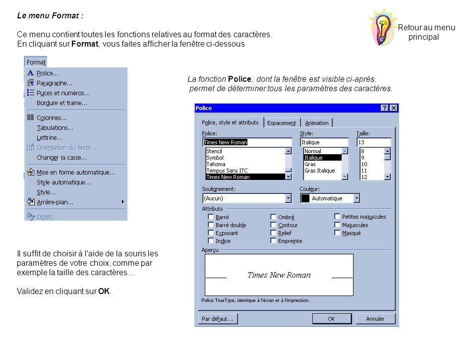 Le menu Format : Ce menu contient toutes les fonctions relatives au format des caractères.