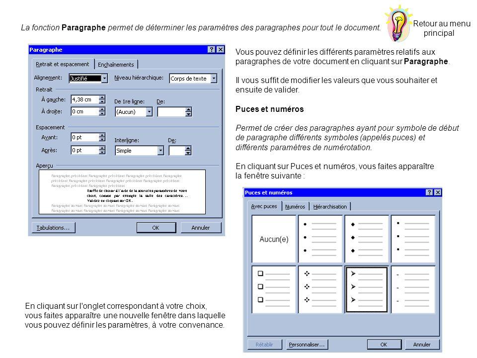 Retour au menu principal. La fonction Paragraphe permet de déterminer les paramètres des paragraphes pour tout le document.