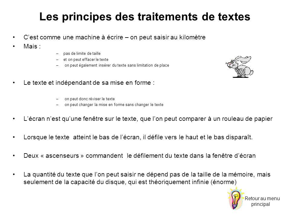 Les principes des traitements de textes