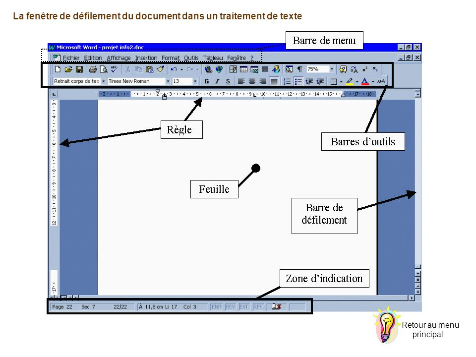 La fenêtre de défilement du document dans un traitement de texte