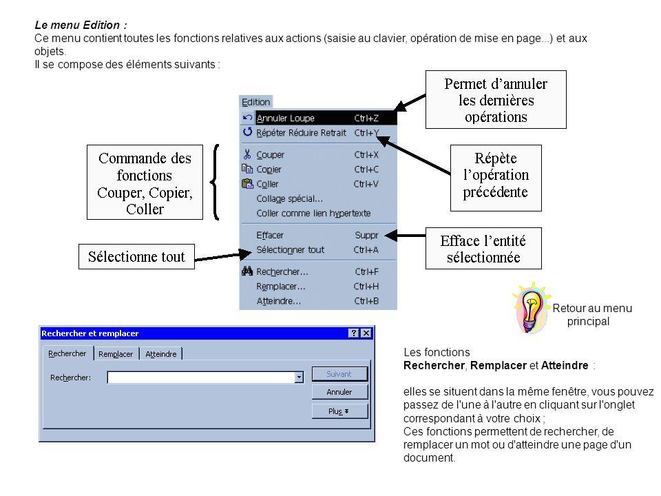 Le menu Edition : Ce menu contient toutes les fonctions relatives aux actions (saisie au clavier, opération de mise en page...) et aux objets.
