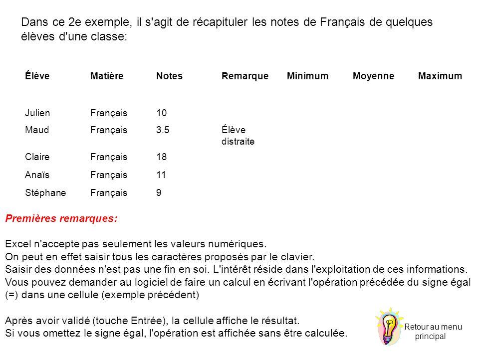 Dans ce 2e exemple, il s agit de récapituler les notes de Français de quelques