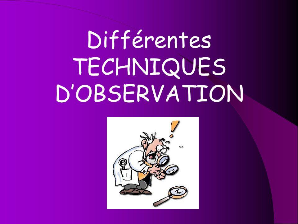 Différentes TECHNIQUES D'OBSERVATION