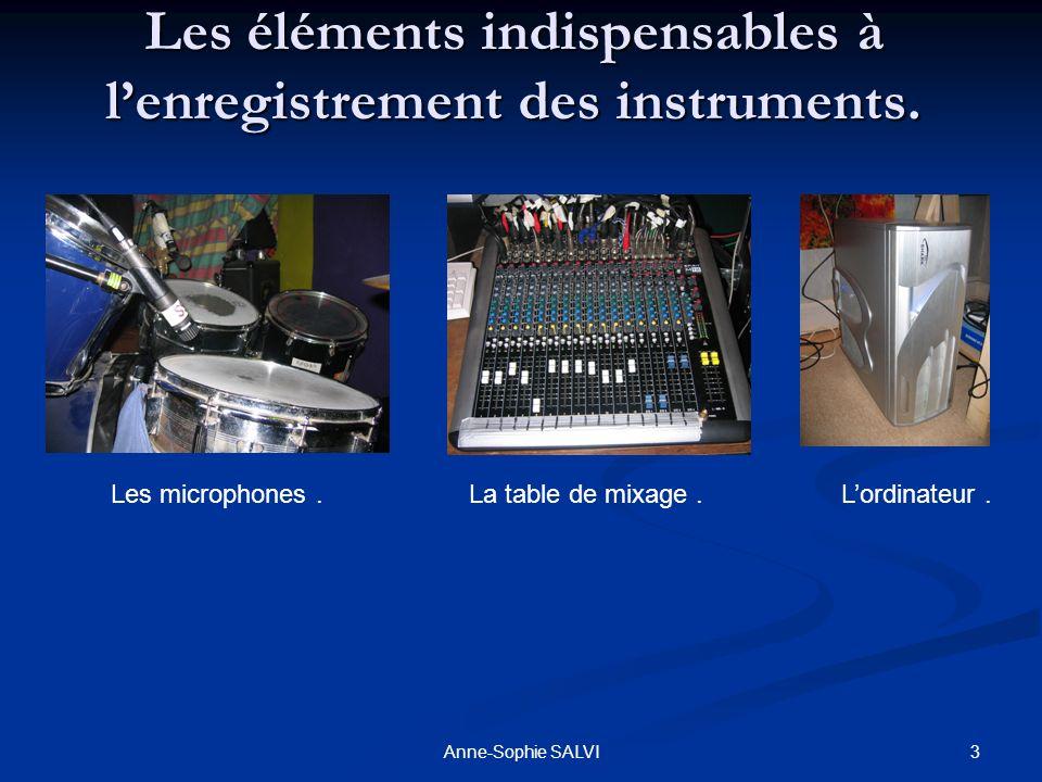 Les éléments indispensables à l'enregistrement des instruments.