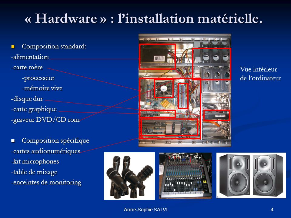 « Hardware » : l'installation matérielle.