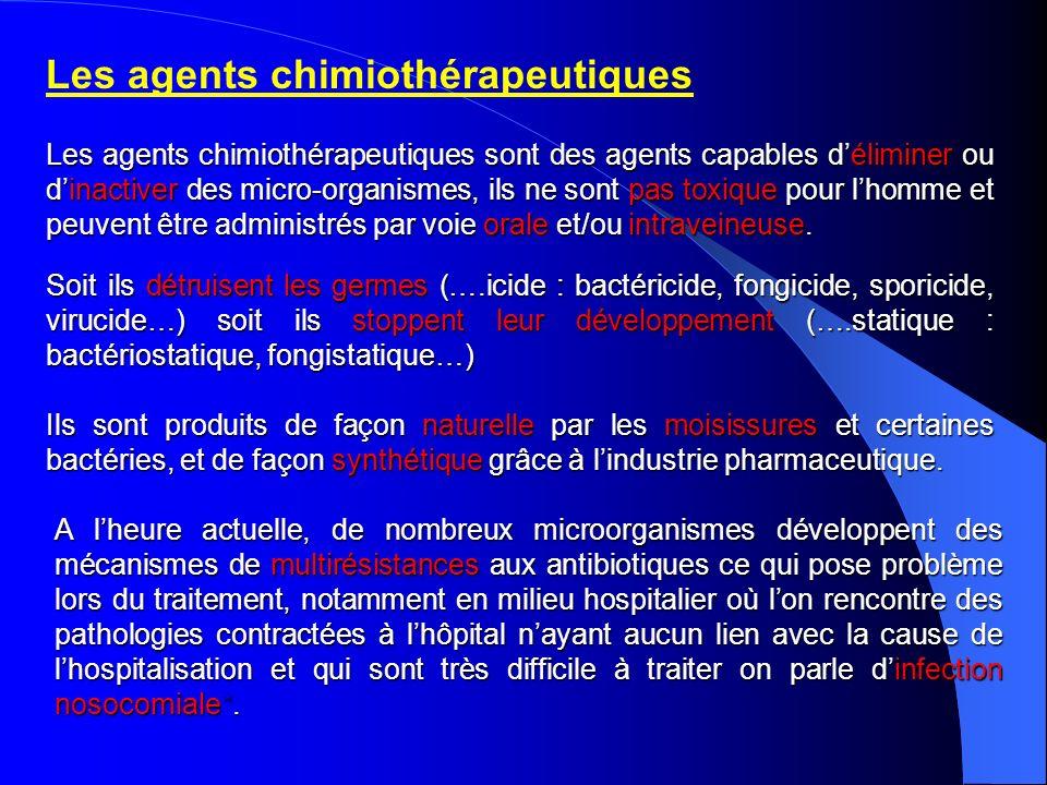 Les agents chimiothérapeutiques