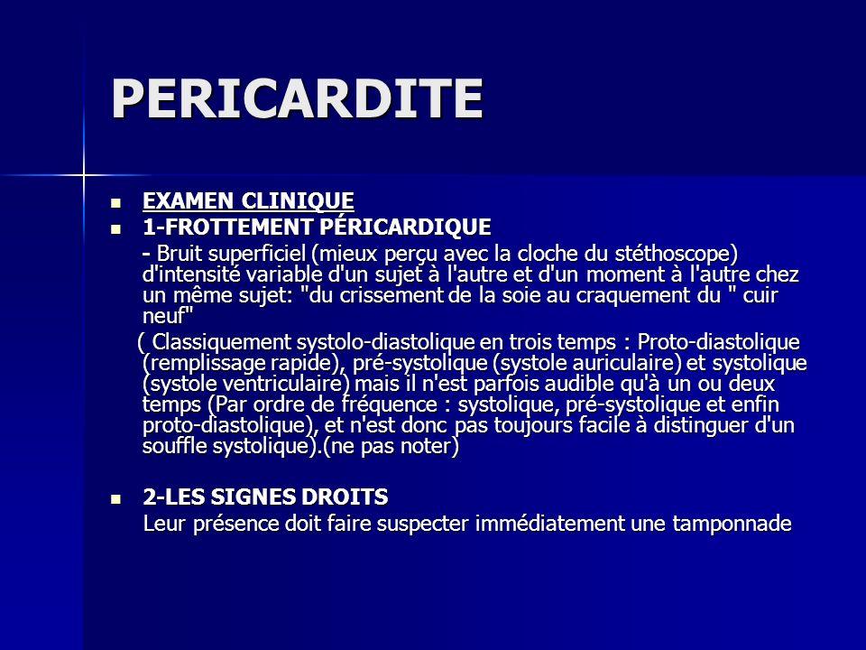 PERICARDITE EXAMEN CLINIQUE 1-FROTTEMENT PÉRICARDIQUE