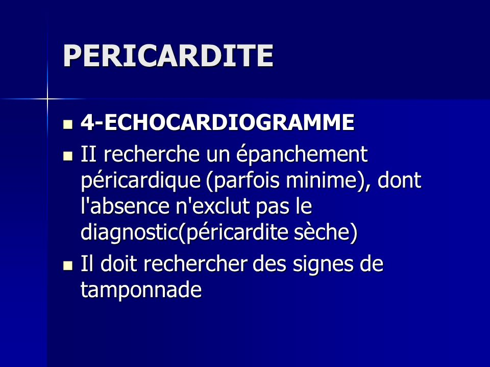 PERICARDITE 4-ECHOCARDIOGRAMME