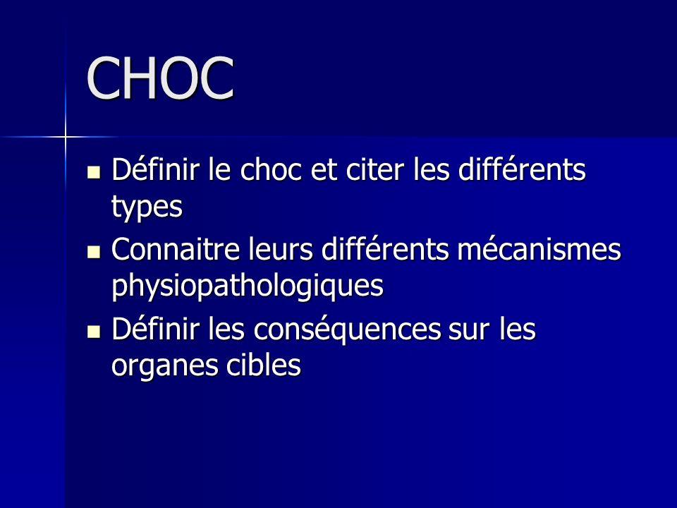 CHOC Définir le choc et citer les différents types