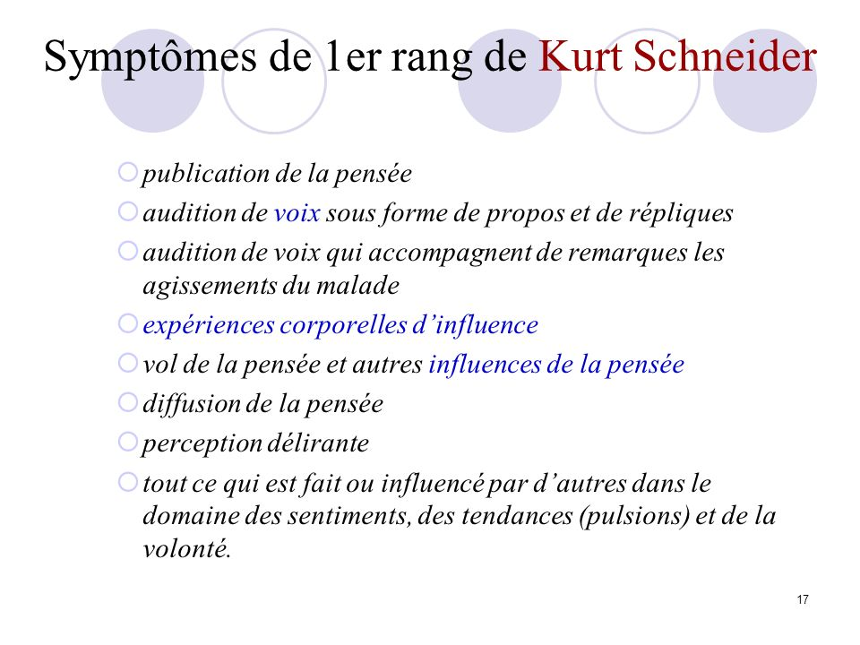 Symptômes de 1er rang de Kurt Schneider
