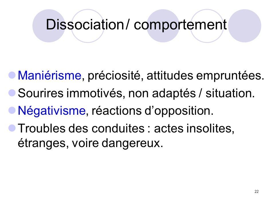 Dissociation / comportement