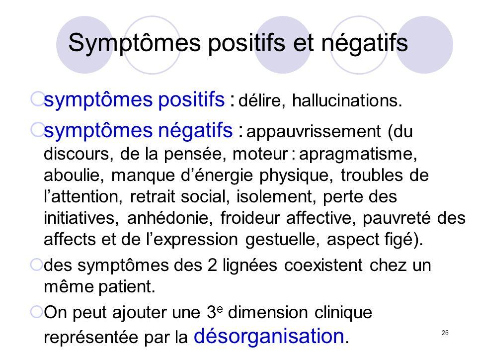 Symptômes positifs et négatifs