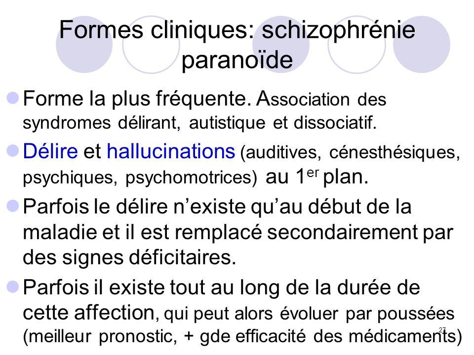 Formes cliniques: schizophrénie paranoïde