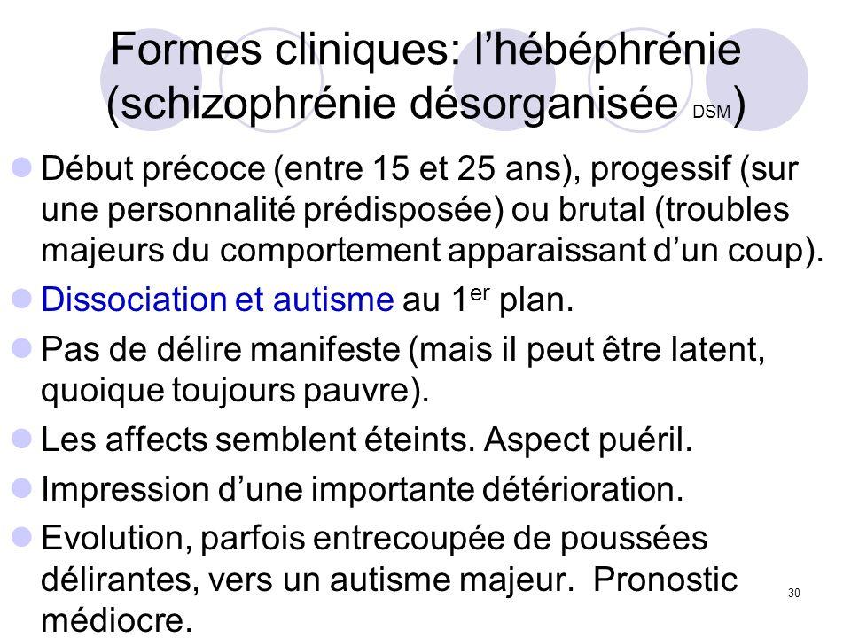 Formes cliniques: l'hébéphrénie (schizophrénie désorganisée DSM)