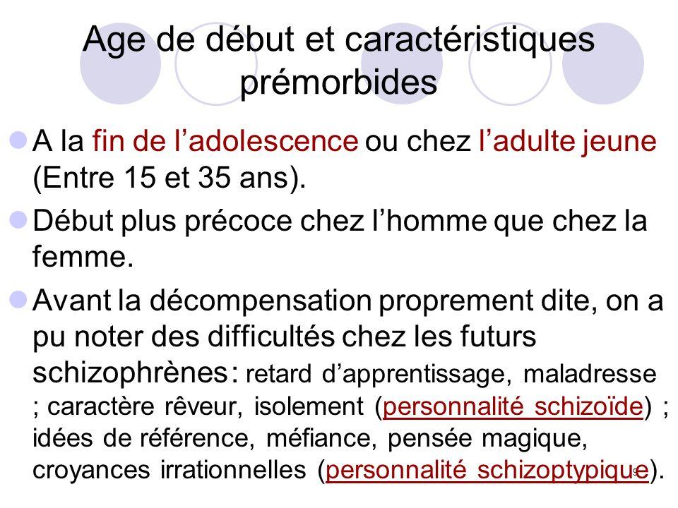 Age de début et caractéristiques prémorbides