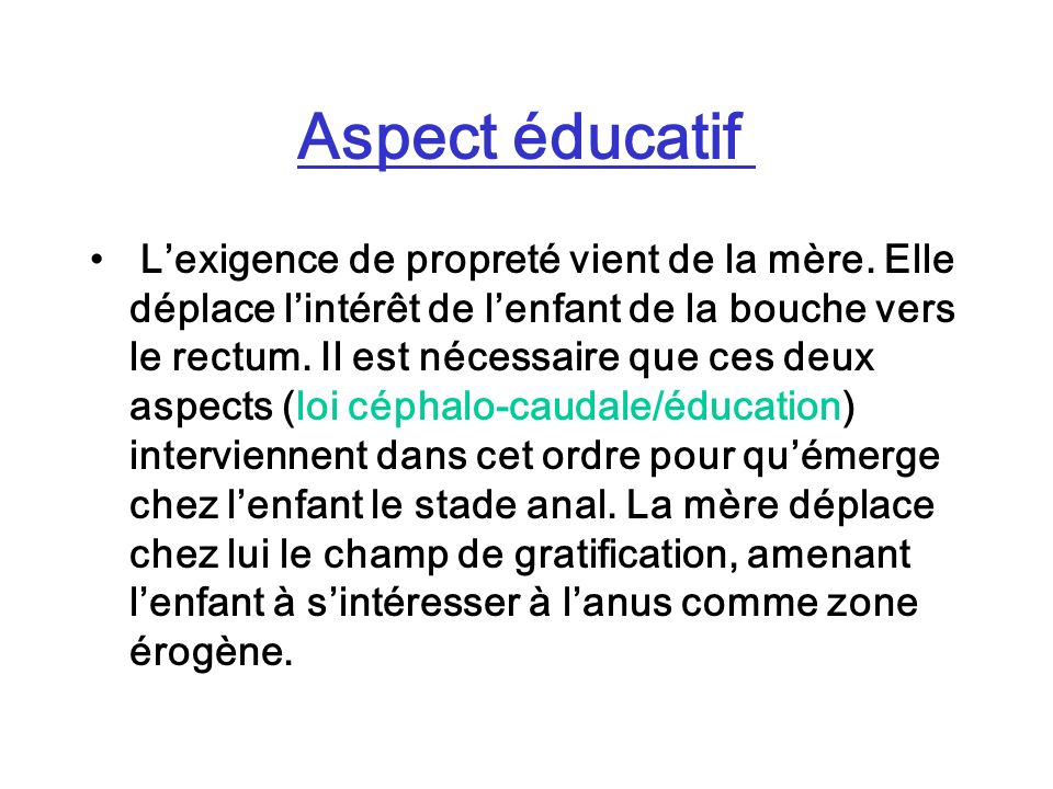 Aspect éducatif