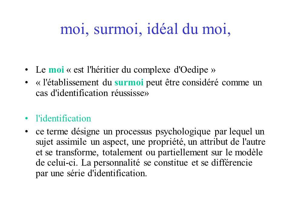 moi, surmoi, idéal du moi, Le moi « est l héritier du complexe d Oedipe »