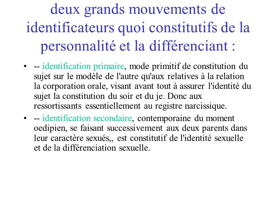 deux grands mouvements de identificateurs quoi constitutifs de la personnalité et la différenciant :