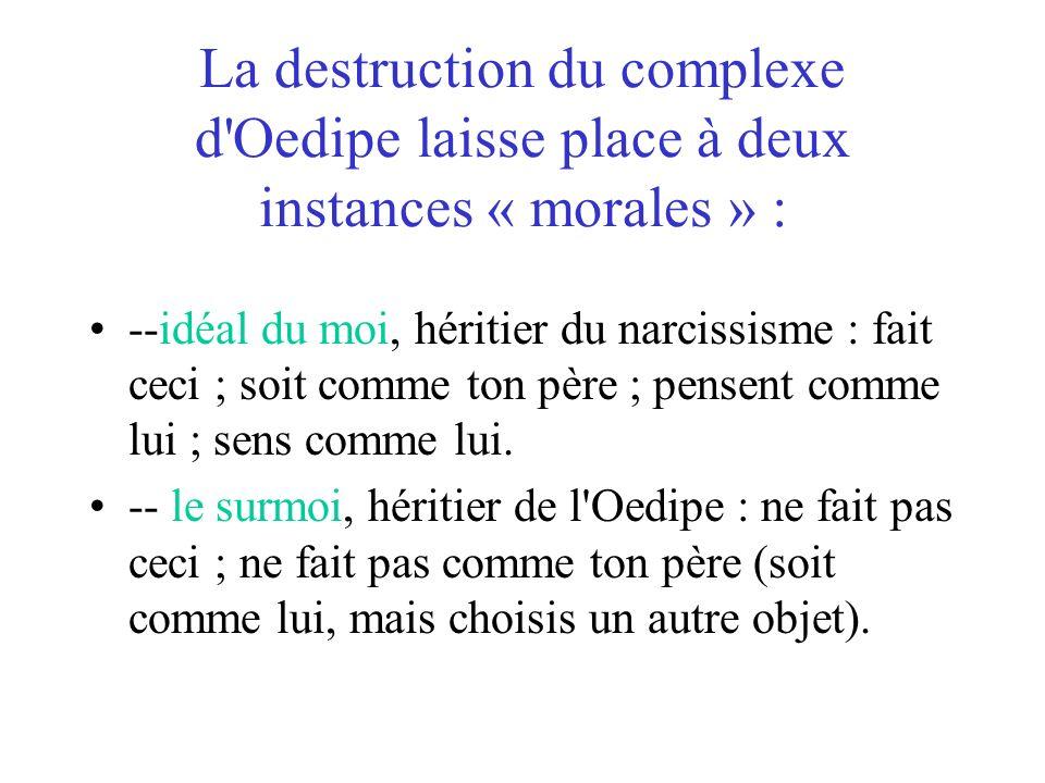 La destruction du complexe d Oedipe laisse place à deux instances « morales » :