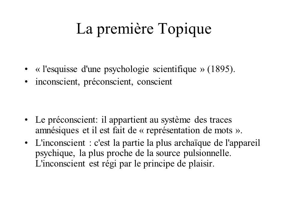 La première Topique « l esquisse d une psychologie scientifique » (1895). inconscient, préconscient, conscient.