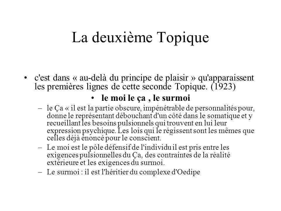 La deuxième Topique c est dans « au-delà du principe de plaisir » qu apparaissent les premières lignes de cette seconde Topique. (1923)