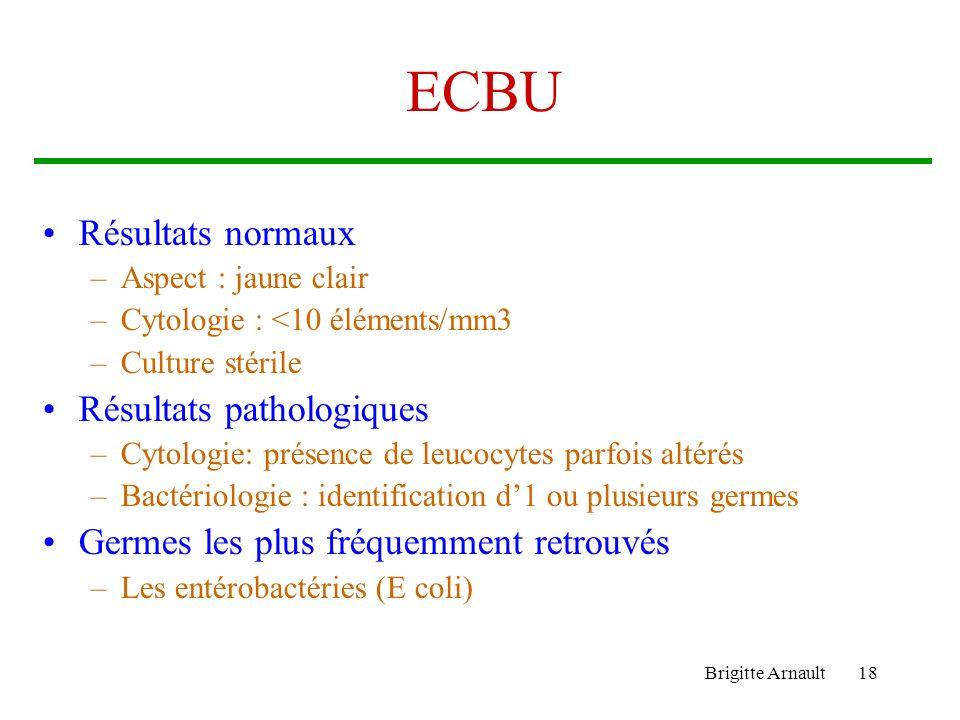 ECBU Résultats normaux Résultats pathologiques