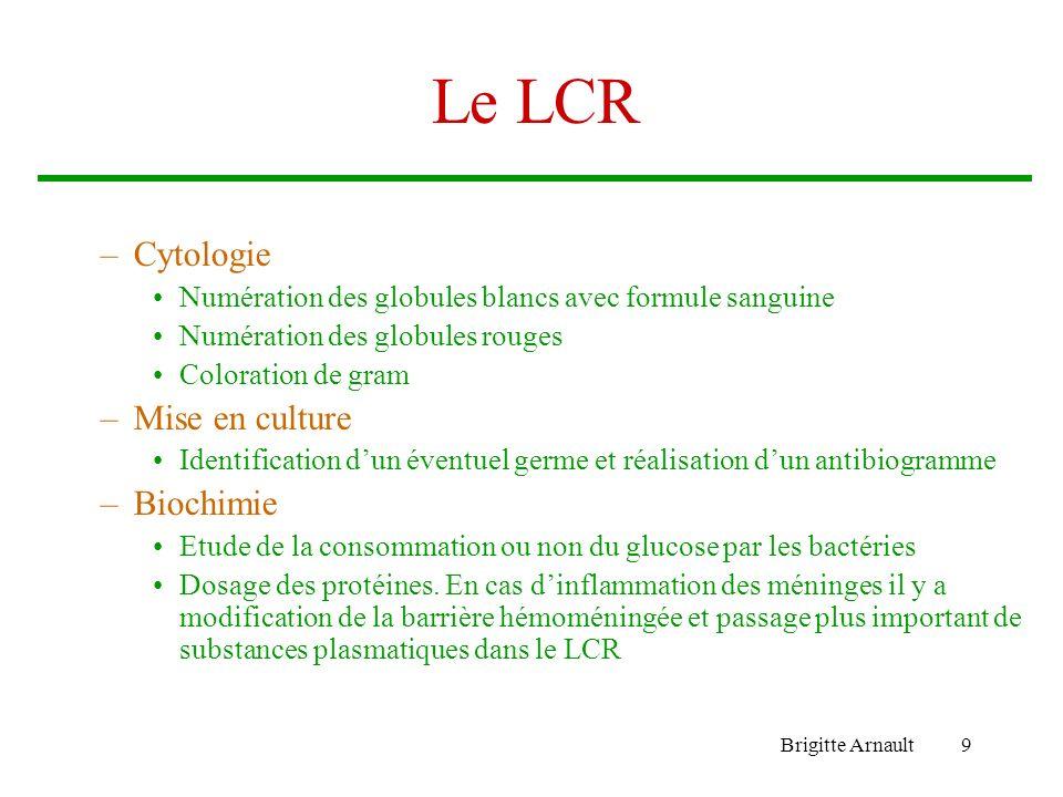 Le LCR Cytologie Mise en culture Biochimie