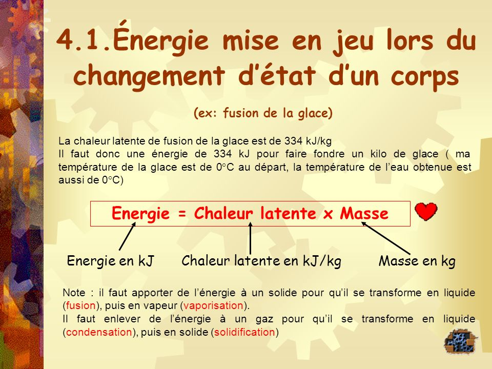 4.1.Énergie mise en jeu lors du changement d'état d'un corps