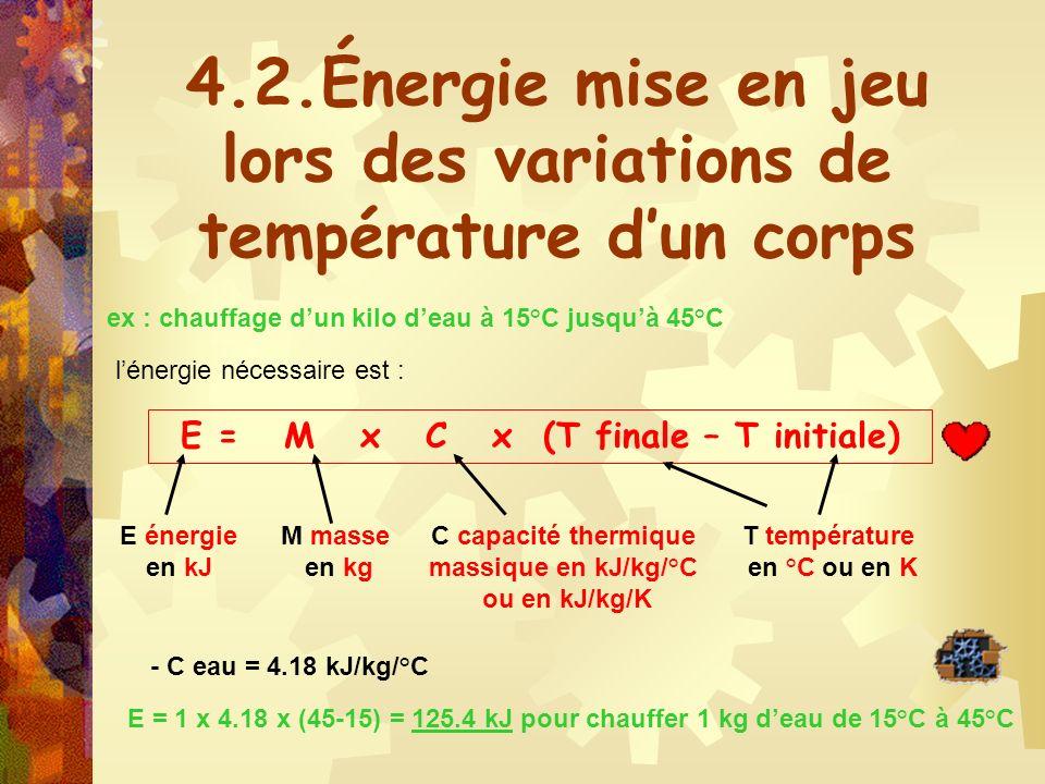 4.2.Énergie mise en jeu lors des variations de température d'un corps