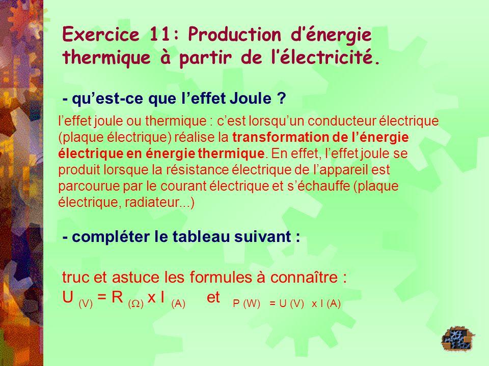 Exercice 11: Production d'énergie thermique à partir de l'électricité.