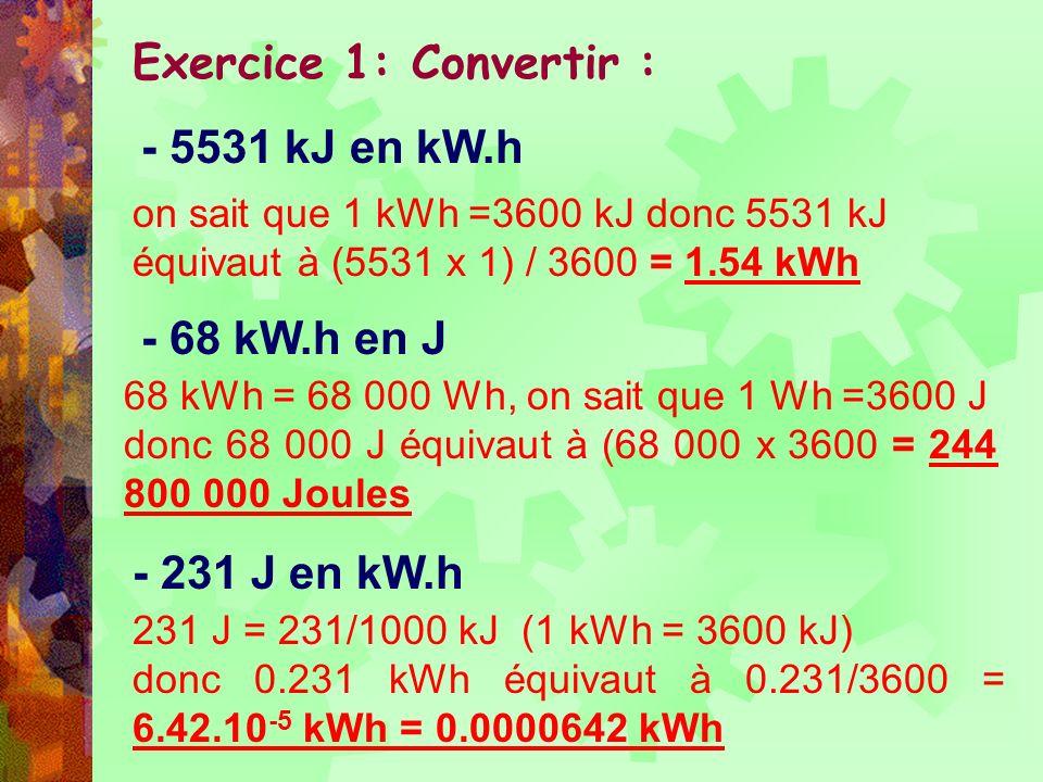 Exercice 1: Convertir : - 5531 kJ en kW.h - 68 kW.h en J