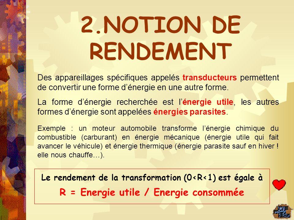 2.NOTION DE RENDEMENT R = Energie utile / Energie consommée