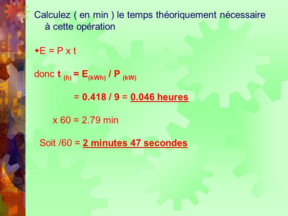Calculez ( en min ) le temps théoriquement nécessaire à cette opération