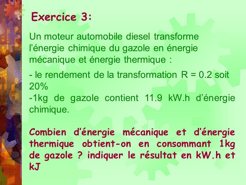 Exercice 3: Un moteur automobile diesel transforme l'énergie chimique du gazole en énergie mécanique et énergie thermique :