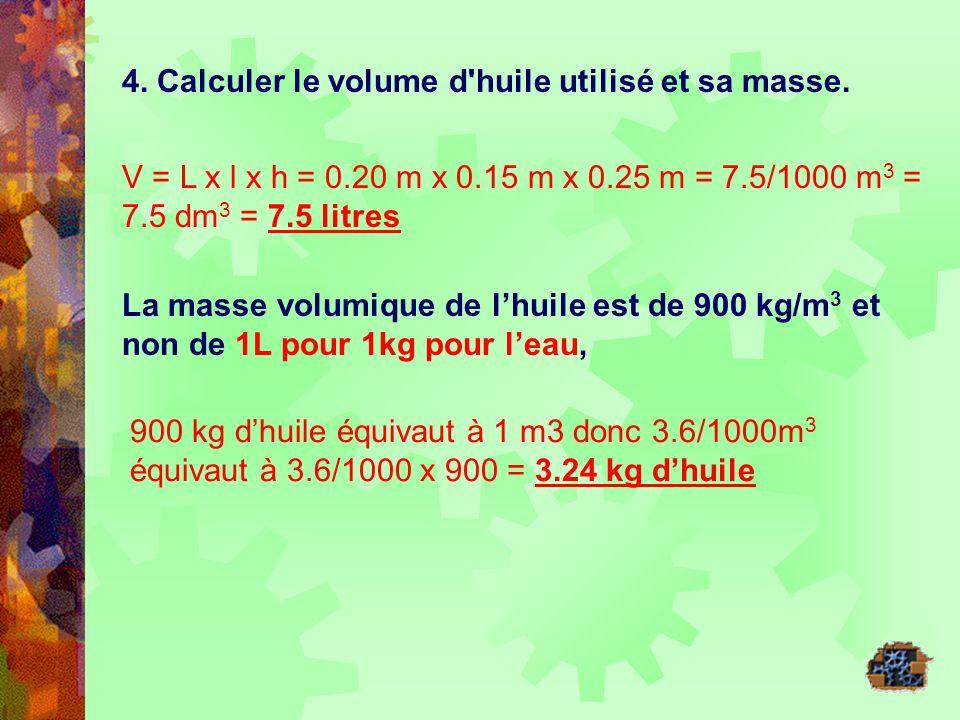 4. Calculer le volume d huile utilisé et sa masse.