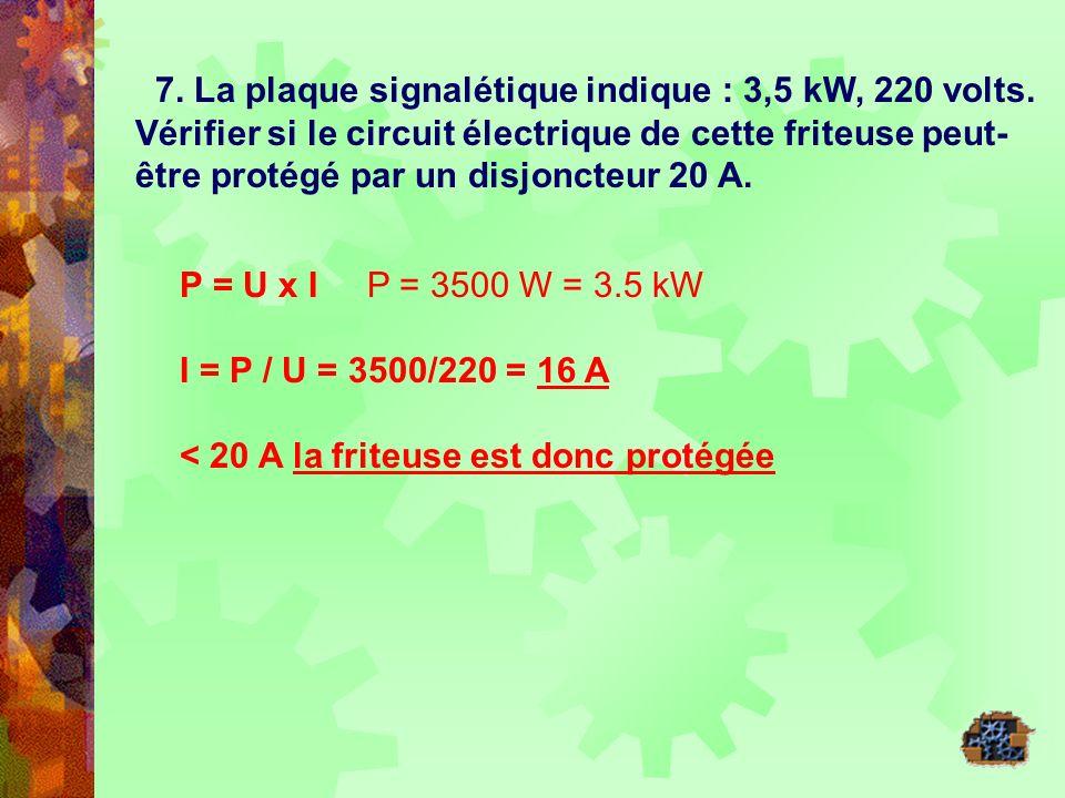 7. La plaque signalétique indique : 3,5 kW, 220 volts