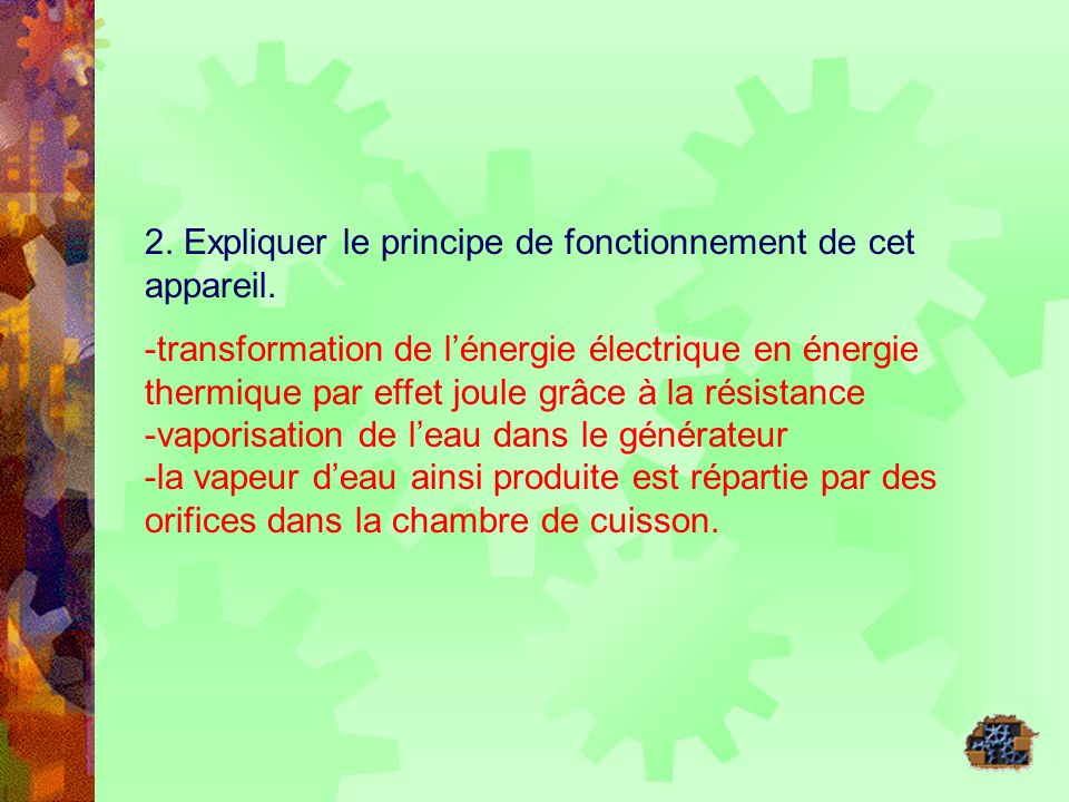 2. Expliquer le principe de fonctionnement de cet appareil.
