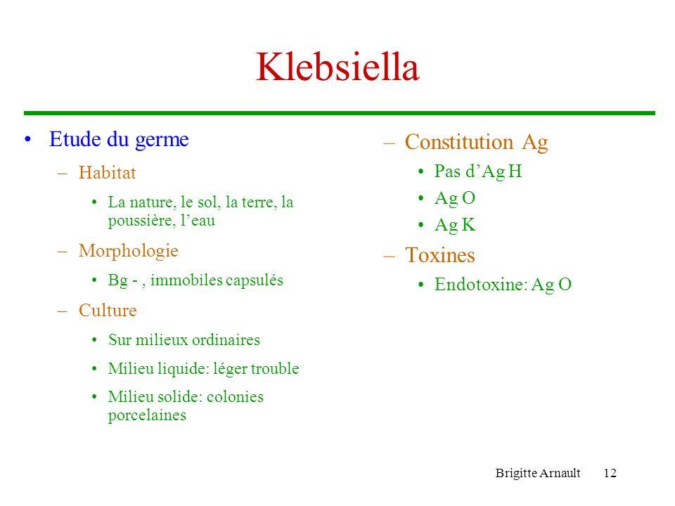 Klebsiella Etude du germe Constitution Ag Toxines Habitat Pas d'Ag H