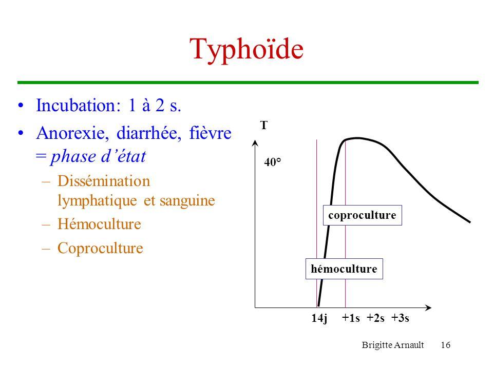 Typhoïde Incubation: 1 à 2 s.