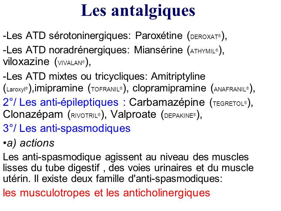 Les antalgiquesLes ATD sérotoninergiques: Paroxétine (DEROXAT®), Les ATD noradrénergiques: Miansérine (ATHYMIL®), viloxazine (VIVALAN®),